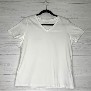 Lands End Relaxed Fit V-Neck White T-Shirt Size S